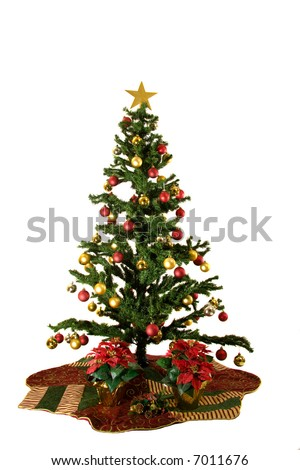 Christmas Tree with red and yellow christmas ornaments isolated on white background