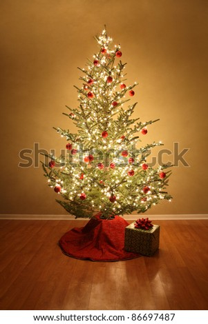 Christmas tree with red ball ornaments and a present