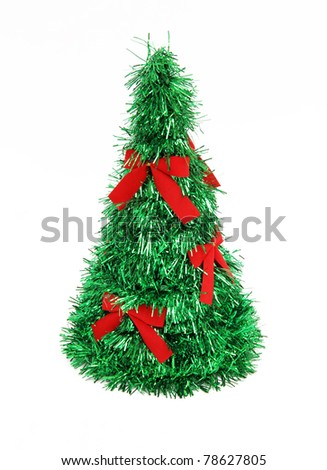 Christmas Tree with Red Bows isolated on white background - stock photo