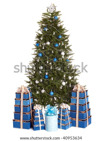 Christmas tree with silver ,blue ball,  gift box group.   Isolated. - stock photo