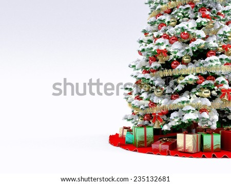 Christmas tree with snow and gifts around the tree - stock photo
