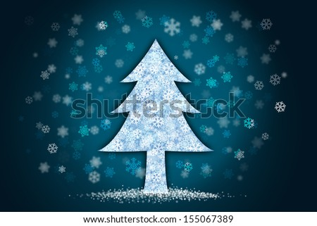 Christmas tree with snow falling , light sparkle background