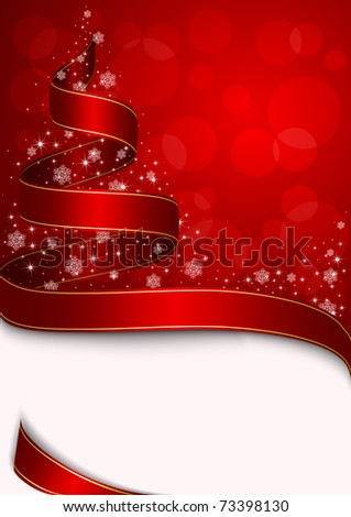Christmas tree with stars and snowflakes on red background, illustration - stock photo