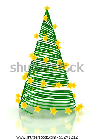 Christmas tree with stars over white. 3d render