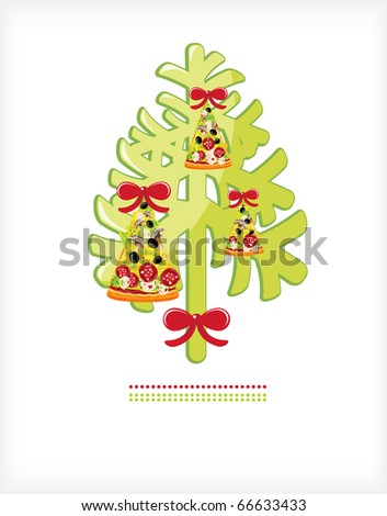 Christmas tree with toys from a piece of pizza attachment bows - stock photo