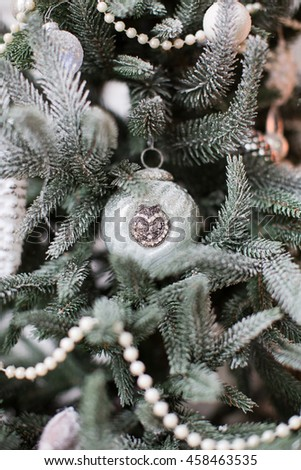 Christmas tree with vintage decorations - stock photo