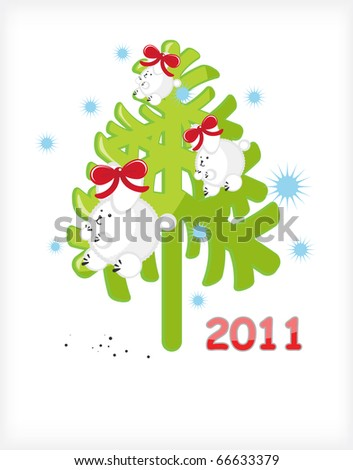 Christmas tree with white rabbits - stock photo