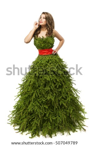 christmas tree woman dress fashion model in creative xmas gown costume isolated over white - Christmas Tree Costume