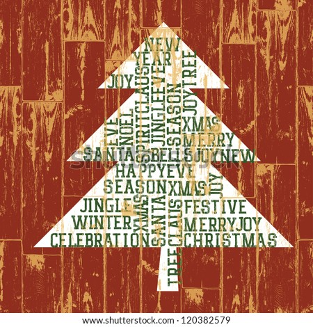 Christmas tree words composition. Raster version, vector file available in portfolio. - stock photo
