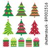Christmas trees and gift boxes set, JPG - stock photo