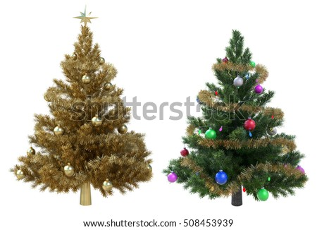 Christmas Trees isolated on White Background. 3D illustration