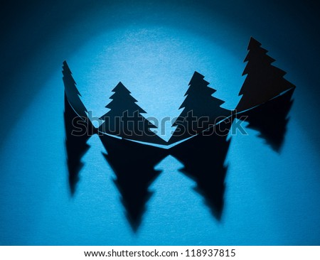 Christmas trees made of paper - stock photo