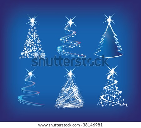 christmas trees modern illustration in a loose abstract style on blue - stock photo