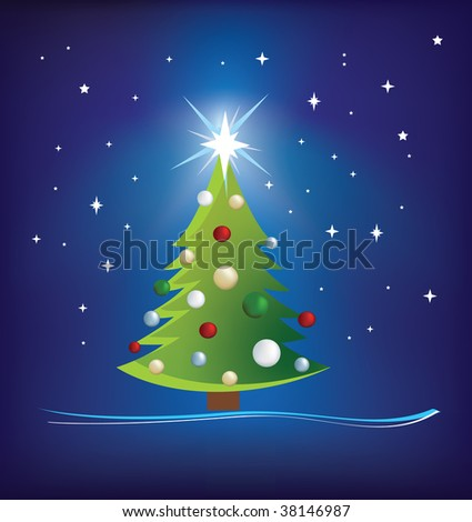 christmas trees modern illustration on blue night sky - stock photo
