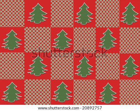 Christmas trees on alternating red and plaid squares makes a festive holiday background.
