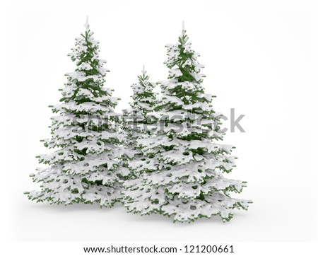 Christmas trees on white background - stock photo