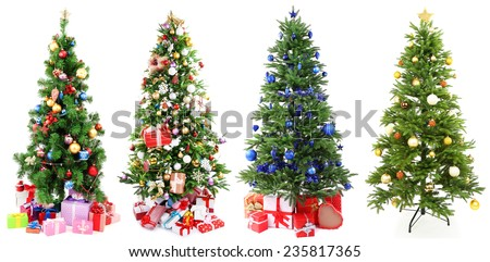 Christmas trees with gifts collage - stock photo