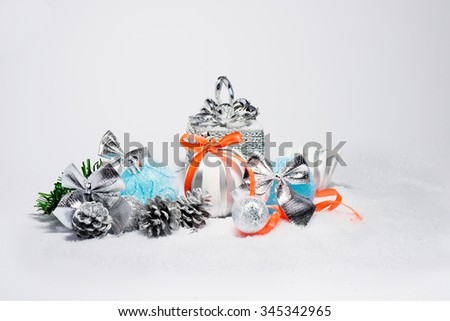 Christmas trendy decorations. New Year 2016 colorful decor - stock photo