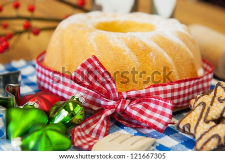 christmas turban cake with decoration in still life - stock photo