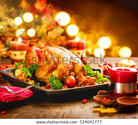 Christmas Turkey Dinner. Roasted Turkey. Winter Holiday table served decorated with candles. & Christmas Turkey Dinner Roasted Turkey Winter Stock Photo (Royalty ...