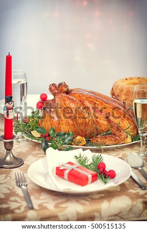 Christmas turkey dinner table with copy space