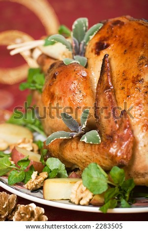 Christmas turkey served with herbs, baked potatoes and walnuts on holiday table - stock photo