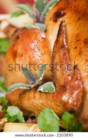 Christmas turkey served with herbs, baked potatoes and walnuts on holliday table - stock photo