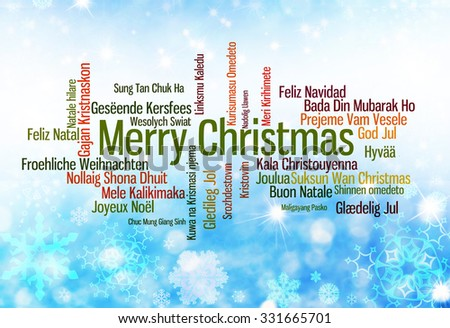 Christmas typography: Merry Christmas written in many languages - stock photo