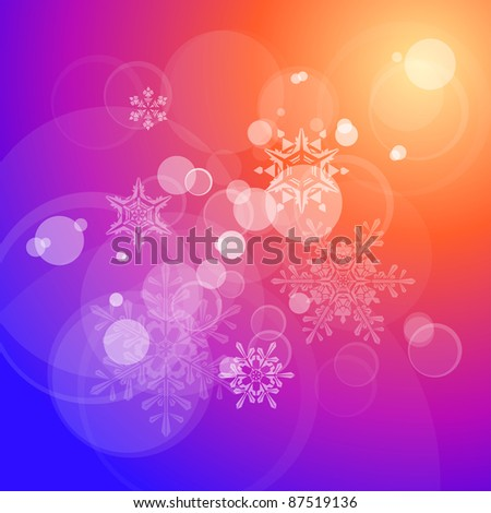 Christmas vector background, lens flares & snowflakes. Bitmap copy my vector - stock photo