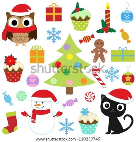 Christmas vector cute elements set. Raster version. - stock photo