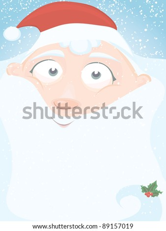 Christmas vector series. Christmas card with little Santa and copyspace. Vector also available - stock photo