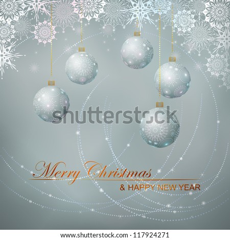 Christmas vector Silver background with decorated balls and snow lace. Merry Christmas and Happy New Year lettering.  Vector file in my portfolio.
