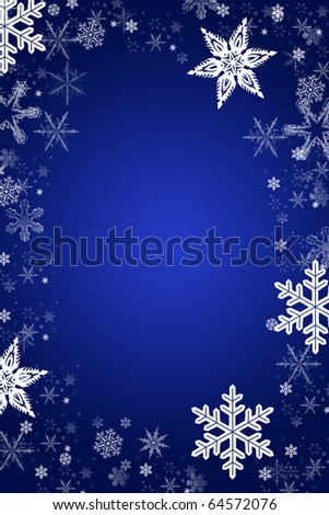 christmas vector snowflakes in a gradient blue background - stock photo