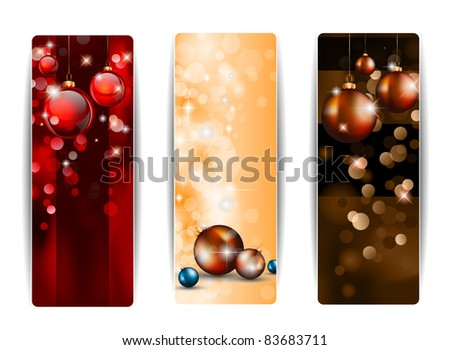 Christmas Vertical Banners with stunning  backgrounds full of glitter and glossy baubles. - stock photo