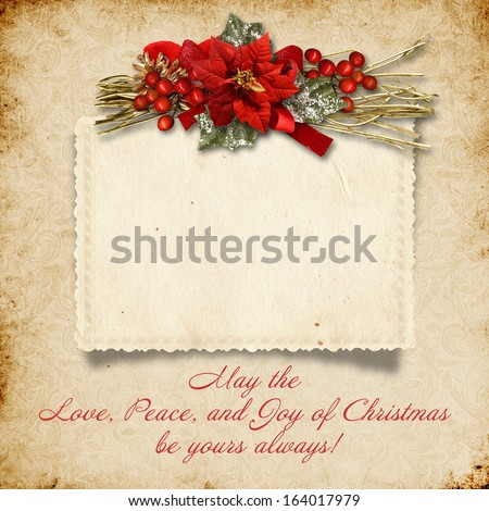 Christmas vintage background with card and wishes - stock photo