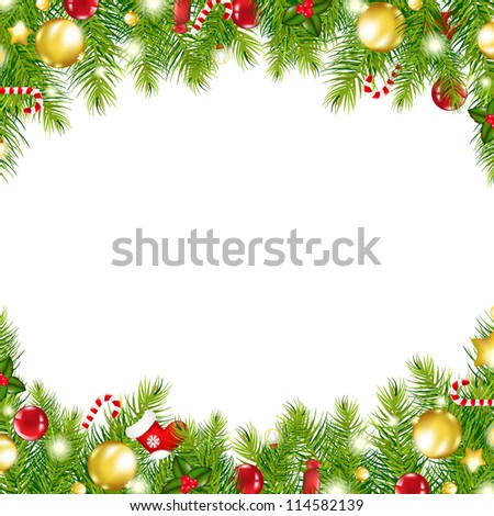 Christmas Vintage Border, Isolated On White Background - stock photo