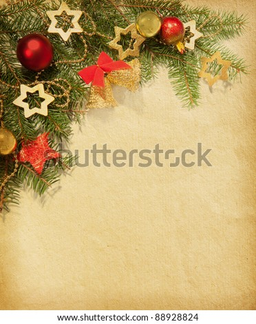 Christmas vintage border. old paper - stock photo