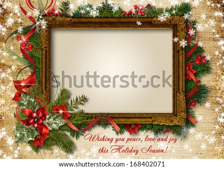 Christmas vintage card with frame for photo or text - stock photo