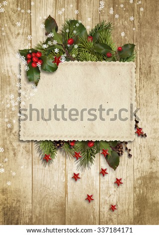 Christmas vintage card with holly,firtree - stock photo