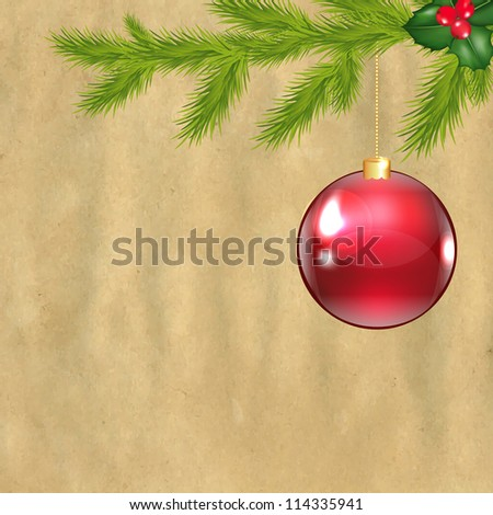Christmas Vintage Composition With Cardboard Structure - stock photo