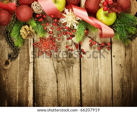 Christmas Vintage decoration border design over old wood background - stock photo