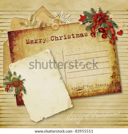 Christmas vintage greeting card - stock photo