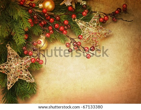 Christmas Vintage Greeting Card with copy space - stock photo