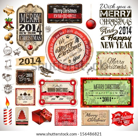 Christmas 2014 Vintage labels and typo collection. A lot of Christmas related design elements for your old style designs - stock photo