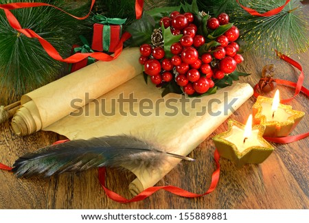 Christmas vintage letter with candles and conifer on wooden background 2 - stock photo