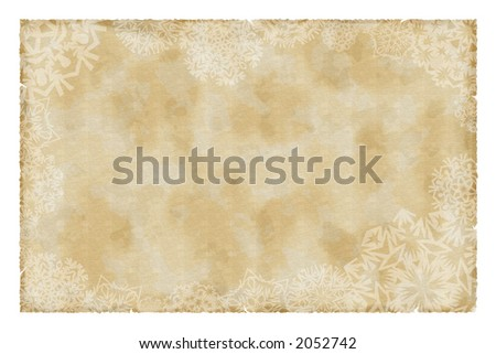 christmas vintage paper with snowflakes - stock photo