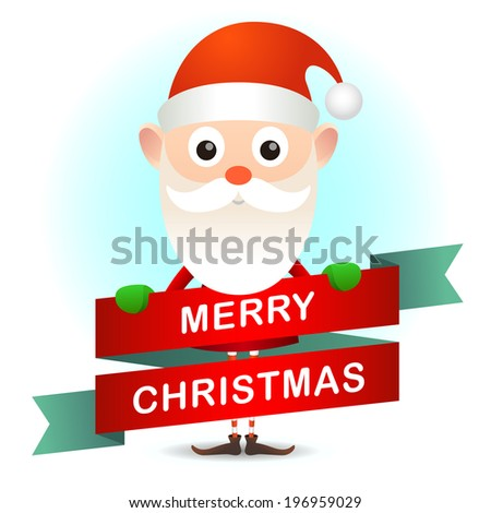 Christmas, vintage postcard will cute Santa Claus. - stock photo