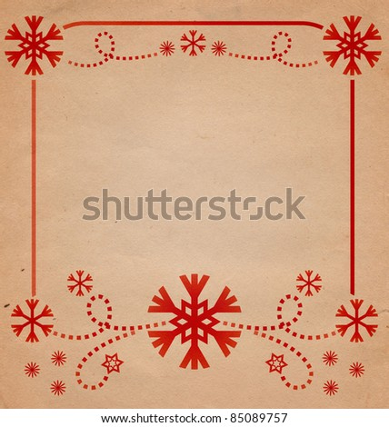 christmas vintage red snowflakes card frame illustration on the old paper - stock photo