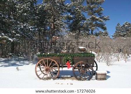 Christmas wagon - stock photo