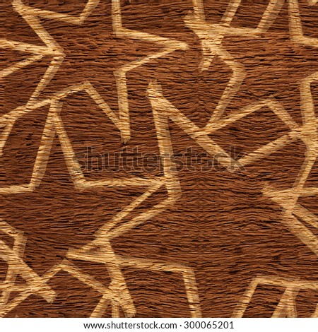 Christmas wallpaper with stars - seamless background - wooden surface - stock photo